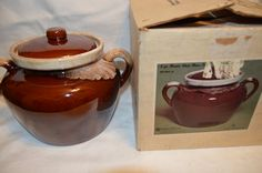 McCoy Pottery Brown Drip Glaze Bean Pot with Lid Original Box Vintage Item #4066 by BigBlossomAntiques on Etsy
