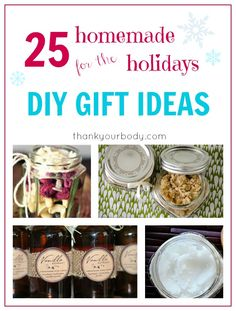 I love the season of giving! Not only does it seem to bring out the best in most people, but it also means I get to have some fun making my favorite DIY gifts. And today I'm really excited 25 fun ideas for you. I've included both personal products and simple edible eats that would be fun to share with your neighbors and friends. Everything here is natural, healthy, and awesome. No returns here! DIY Gifts: Personal Care & Home This Peppermint Whipped Body Butter is my all time favorite diy…