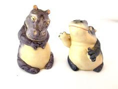 Vintage Salt Pepper Shakers Noahs Ark 1987 Two by Two Series Hippo Hippopotamus #FranklinMint
