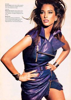 Image: imageshack Christy Turlington is a knock-out in Gemma Kahng's purple leather dress, photographed by Michael Thompson, 80s Fashion, Fashion Photo, Fashion Models, Original Supermodels, Famous Supermodels, Leder Outfits, 90s Models, Christy Turlington, Leather Dresses