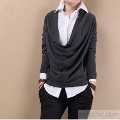Dark gray knitted casual sweater top