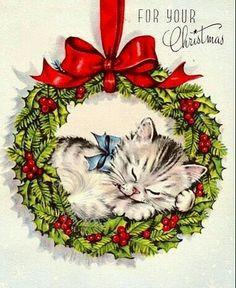 CHRISTMAS KITTEN IN WREATH