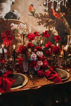 Black Gold Wedding Modern romantic red, black and gold wedding reception table centrepiece with brass vessels, roses and wallpaper backdrop Table Centerpieces, Wedding Centerpieces, Wedding Decorations, Wedding Reception Backdrop, Wedding Table, Red Wedding Receptions, Wedding Ceremony, Modern Wedding Inspiration, Wedding Ideas