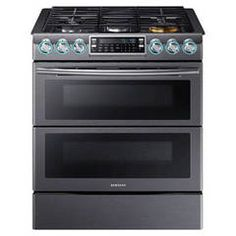 Shop Samsung Slide-in with Wi-Fi 30-in 5-Burner 3.4-cu ft/2.3-cu ft Self-Cleaning Double Oven Convection Gas Range (Black Stainless Steel) at Lowes.com