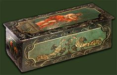 1750 - 1850 sea chest painted in the characteristic Hindeloopen style Dutch Netherlands, Coffin, Crates, Amsterdam, Decoupage, Nautical, Upcycle, Decorative Boxes, Sea