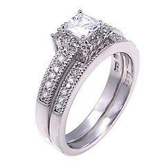 Epiphany: Stunning 1.48c Russian Ice Diamond CZ 2 pc Wedding Ring Set