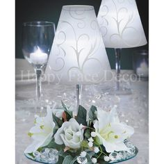 12 Centerpieces WINE GLASS Lamp SHADE Silk Flower Rings Tea Lights WEDDING Party