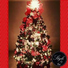 Christmas tree white and red   estilo clásico