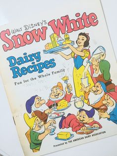 Walt Disney's Snow White Dairy RecipesWhat a fun cookbook for kids! Dated Presented by the American Dairy Association. Hiland Quality Checked Homogenized Milk advertising on back cover. Mint Frosting, Pink Icing, Kids Cookbook, Cookbook Recipes, Chocolate Cookie Recipes, Chocolate Cookies, Mint Chocolate, Melting Chocolate, Disney Food