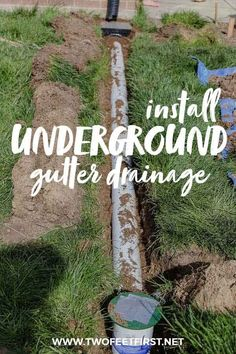 Move water away from the foundation of your home by installing underground drainage for a gutter, better known as a french drain. Underground Gutter Drainage, Underground Garden, Backyard Drainage, Backyard Landscaping, French Drain Installation, Diy Gutters, Drainage Solutions, Lawn And Landscape, Foundation
