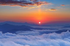 Foggy sunrise morning in the mountains
