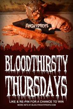 LIKE AND REPIN TO ENTER TO WIN! Bloodthirsty Thursday is upon us! For this week, we're giving away a set of three props! Skinned Fox, Boar's Head and a Sliced Pig!   Check our blog for more details!