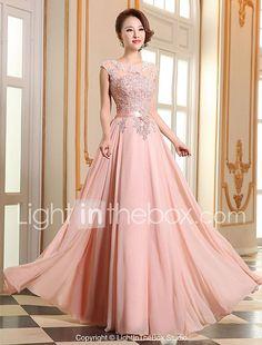 Vestido formal de fiesta de baile - encaje de una línea joya georgette piso de longitud con apliques perlas de detalle de perlas 2017 - $1520.61