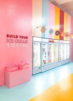 Inside Museum Of Ice Cream's Pint Shop - design - Retail Interior, Cafe Interior, Display Design, Booth Design, Cafe Design, Store Design, Design Shop, Ice Cream Museum, Ice Cream Nyc