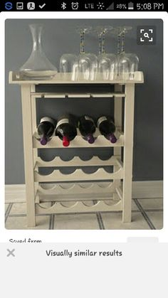 Check a wide array of violet tray patterns, inclusive of wall mounted wine steps and particular person mauve flask spaces. Wine Rack Furniture, Diy Household, Diy Furniture, Wine Cabinets, Crate Shelves, Home Diy, Wine Crate, Diy Wine, Diy Wine Rack