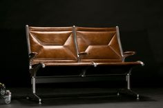 Iconic Eames airport chairs, reupholstered in Edelman's world-class luxury leather - by Automaton Furnishings Co for Parker Daniels - automaton.us - the1962collection.com