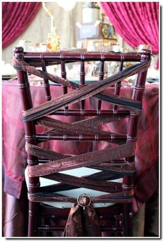Alternative to seat covers.  Pinned by Afloral.com from http://www.bebarock.com/article-steampunk-wedding-117335379.html ~Find ribbon and glam buckles at Afloral.com