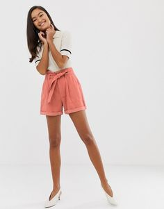 Shop Miss Selfridge shorts with paperbag waist in pink at ASOS. Miss Selfridge, Outfit Of The Day, Fashion Online, Casual Shorts, Asos, Mini Skirts, Pink, Shirts, Outfits