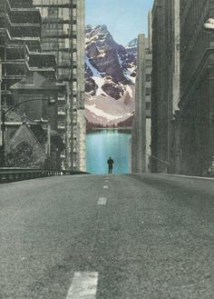 ' Into the wild ' Collage on paper © Sammy Slabbinck 2013 Collage Kunst, Art Du Collage, Surreal Collage, Surreal Art, Digital Collage, City Collage, Art Collages, Wall Collage, Into The Wild Poster