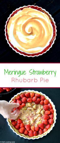 Meringue Strawberry Rhubarb Pie