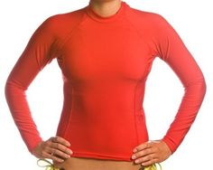 5db5f883f8207 Beach Depot UPF 50+ Women s Long Sleeve Rash Guard Shirt - Red XL The Beach