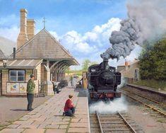 Fine Art Prints of Railway Scenes & Train Portraits - Rush Hour at Faringdon by Neil Podbery Train Posters, Railway Posters, Steam Trains Uk, Abandoned Train Station, Steam Art, Heritage Railway, Steam Railway, Cartoon Art Styles, Train Art