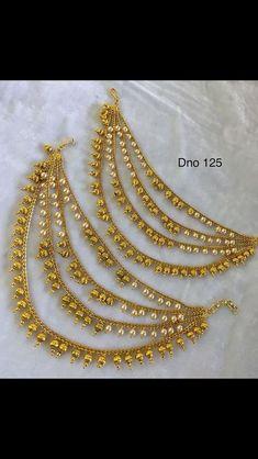 Antique Jewellery Designs, Gold Ring Designs, Gold Earrings Designs, Necklace Designs, Gold Wedding Jewelry, Bridal Jewelry, Gold Jewelry, India Jewelry, Jewelery