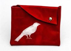 red leather pouch with white bird print by handmadebychloed, $8.00