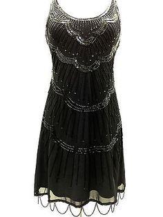 Schwarz Vintage 1920er Jahre Flapper Gatsby Downton Abbey Fransen Wulstige Kleid