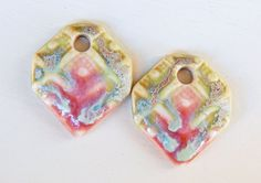 Handmade porcelain Earring Pairs charms  pink and por Majoyoal