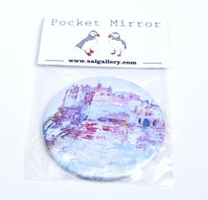 Pocket mirror of Edinburgh Castle. The design is based on my oil painting of Edinburgh Castle. The mirror measures approximately 7.5cm diameter. Keep these cute little mirrors handy at home or add to your day bag. Also make great gifts.