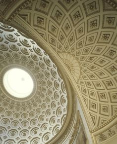 Robert Adam | Kedleston Hall, Saloon: A detail of coffered Dome apse intersection on ceiling of the Saloon