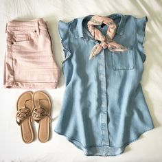 A bit of blush and chambray for today's Chambray Shirt Outfits, Chambray Top, Dressy Outfits, Cute Summer Outfits, Summer Wear, Short Outfits, Chic Outfits, Spring Outfits, Fashion Outfits