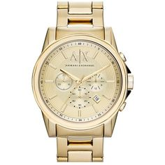 Men's Ax Armani Exchange Chronograph Bracelet Watch, 45Mm (690 BRL) ❤ liked on Polyvore featuring men's fashion, men's jewelry, men's watches, gold, mens watches jewelry, mens watch bracelet, stainless steel mens watches and mens bracelet watch