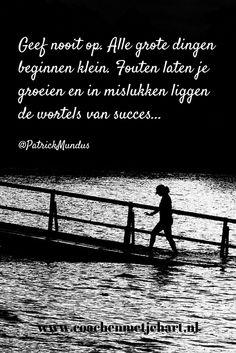 Geef nooit op. Alle grote dingen beginnen klein. Fouten laten je groeien en in mislukken liggen de wortels van succes...