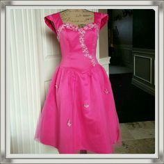 Hot hot pink beauty special occasion/prom dress Beautiful vibrant hot pink color special occasion/prom dress. Cap sleeves. Netted skirting. Darling flower and sequin accents. Comes with unattached short sleeved jacket as shown in 3rd picture for a different look. Beautiful cond. Next Eve Dresses