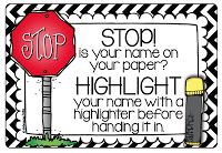 Stop...is your name on your paper?  (freebie) Kindergarten Smiles: First Two Days of School in Kindergarten