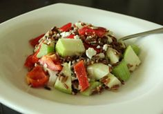 V made this: Brown rice salad with green apple and feta - we added chicken and it was so darn good.