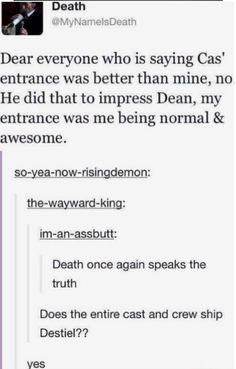 No offence, but how does Cass' entrance even compare to Death's?