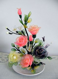 Handmade Small Peach and Cream White Roses by LiYunFlora on Etsy