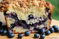 Blueberry Streusel Bread from blueberries, sugar, water, flour, baking powder, salt, eggs, butter, vegetable oil, buttermilk and vanilla...and sugar, brown sugar, flour, butter, lemon zest