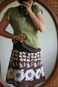 Summer Skirt -- using part of a Tshirt for a waistband
