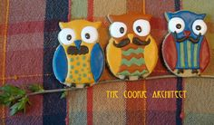 Owls with Mustaches Cookies