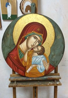 Byzantine Icons, Byzantine Art, Religious Icons, Religious Art, Paint Icon, Blessed Mother Mary, Madonna And Child, Orthodox Icons, Dance Art