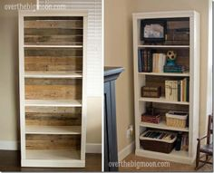 take an inexpensive bookshelf then replace the back with worn pallet planks. This looks like something you'd find at Pottery Barn!