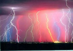 Lightning in an array of colors