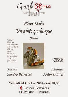 """""""Un abito qualunque"""": venerdì 24 ottobre la presentazione della silloge di Elena Malta a La Feltrinelli di Pescara"""