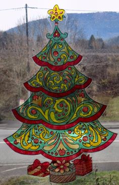 wicoart window color sticker static cling noel christmas doodle tree sapin fte - Windows Color Noel