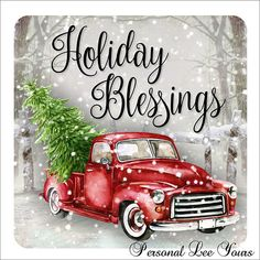 Wreath Sign * Holiday Blessings * or * Adhesive Mounts Included * Metal Sign * Watercolor Design * Red Pickup Christmas Red Truck, Christmas Scenes, Christmas Pictures, Rustic Christmas, Christmas Art, Christmas Projects, Holiday Crafts, Christmas Holidays, Christmas Decorations
