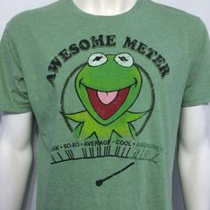 Kermit The Frog Muppets Show Green T-Shirt Awesome Meter Disney Jim Henson #TheMuppets #GraphicTee